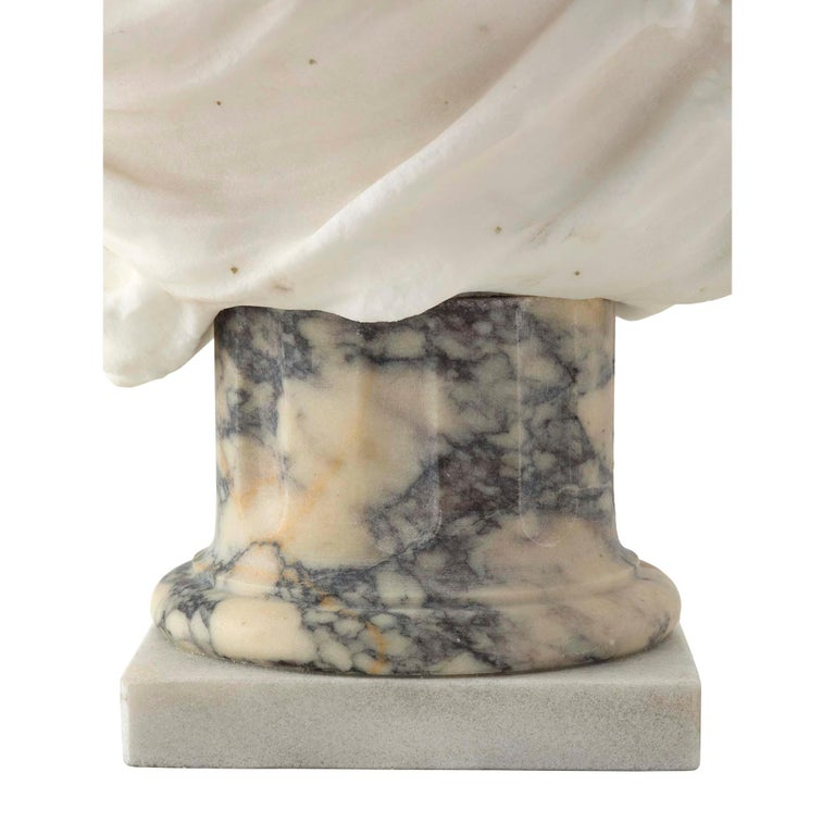 French 19th Century White Carrara Marble Bust of a Young Lady For Sale 2