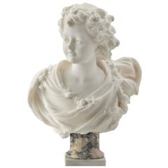 French 19th Century White Carrara Marble Bust of a Young Lady
