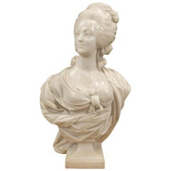 French 19th Century White Carrara Marble Bust of Marie Antoinette