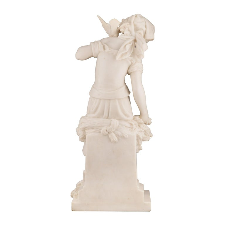 French 19th Century White Carrara Marble Statue of a Maiden, Signed Moreau In Excellent Condition For Sale In West Palm Beach, FL