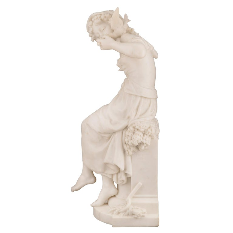 French 19th Century White Carrara Marble Statue of a Maiden, Signed Moreau For Sale 1