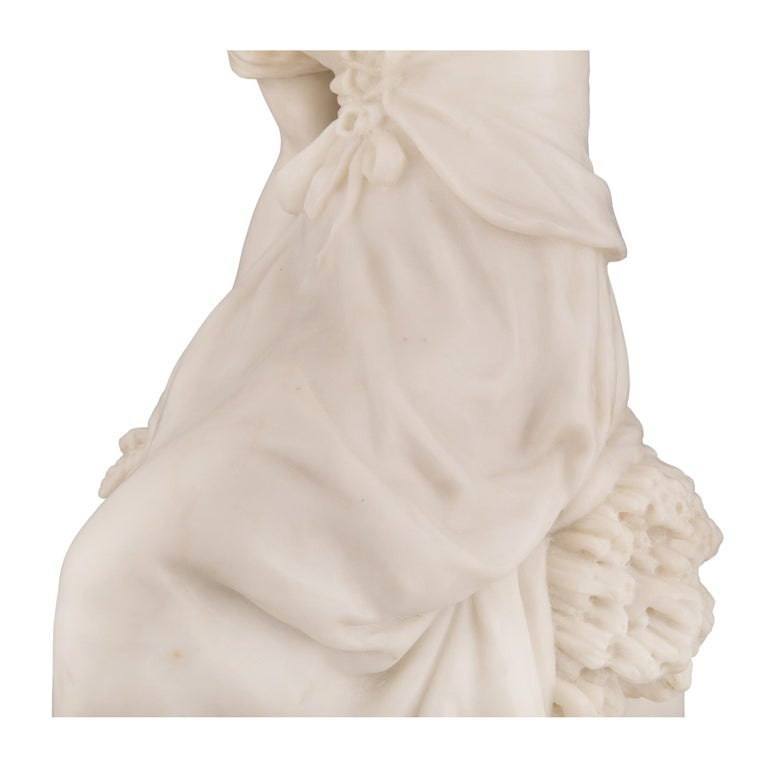 French 19th Century White Carrara Marble Statue of a Maiden, Signed Moreau For Sale 3