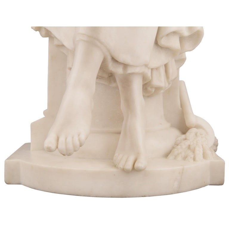 French 19th Century White Carrara Marble Statue of a Maiden, Signed Moreau For Sale 5