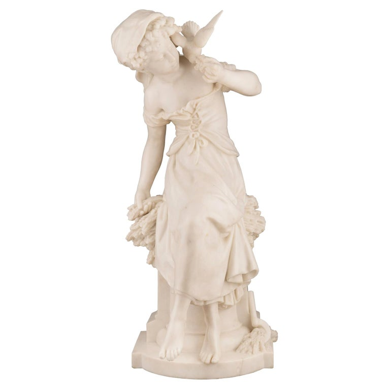 French 19th Century White Carrara Marble Statue of a Maiden, Signed Moreau For Sale