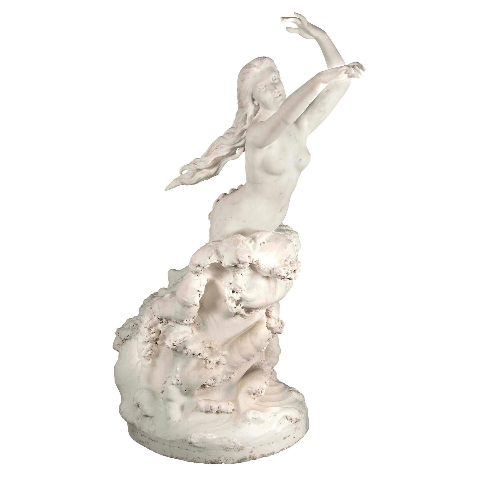 French 19th Century White Carrara Marble Statue, Signed E. Damé, 1892