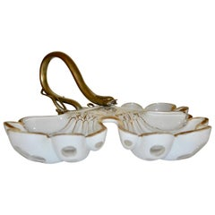 French 19th Century White Opaline Candy Dish with Brass Snake Hardware