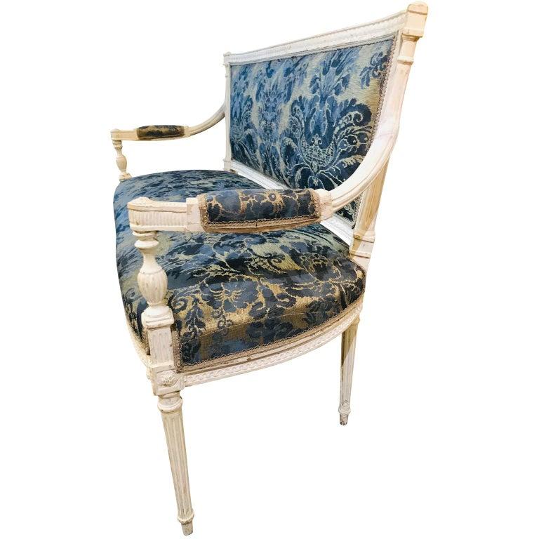 Louis XVI French 19th Century White Settee Sofa For Sale