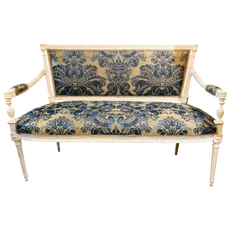 French 19th Century White Settee Sofa For Sale