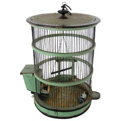 French 19th Century Wood and Wire Birdcage, Original Paint
