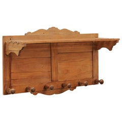 French 19th Century Wooden Coat Rack with Scalloped Crest and Carved Brackets