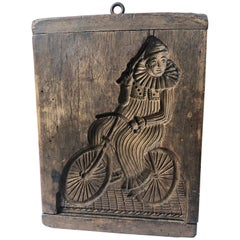 French 19th Century Wooden Cookie Mold, Clown on a Bicycle