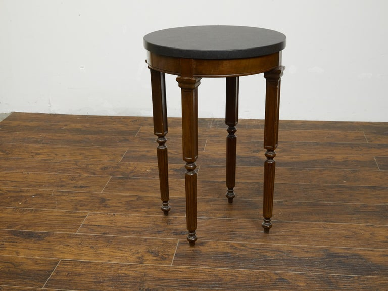 French 19th Century Wooden Guéridon Table with Circular Black Marble Top For Sale 7