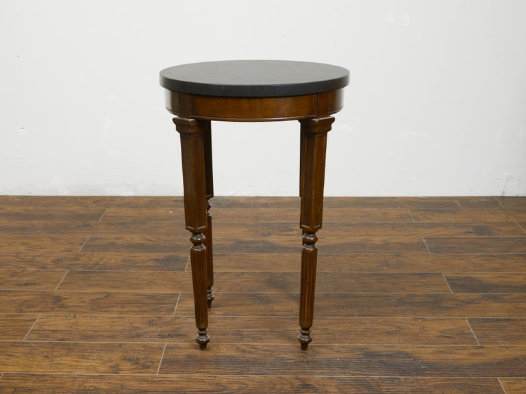 French 19th Century Wooden Guéridon Table with Circular Black Marble Top In Good Condition For Sale In Atlanta, GA