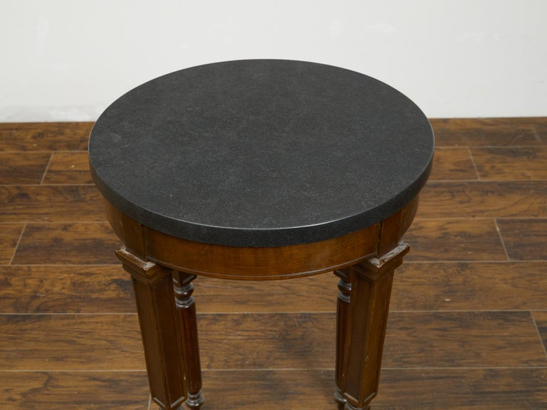 French 19th Century Wooden Guéridon Table with Circular Black Marble Top For Sale 2