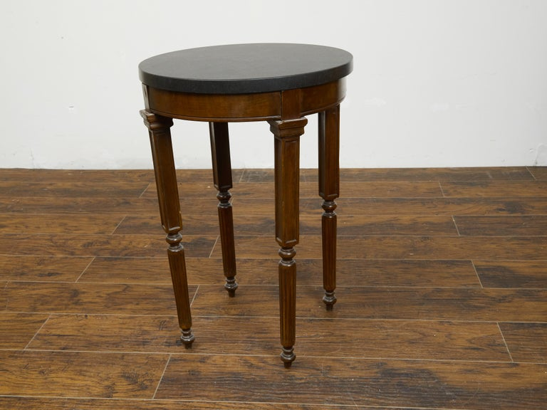 French 19th Century Wooden Guéridon Table with Circular Black Marble Top For Sale 5