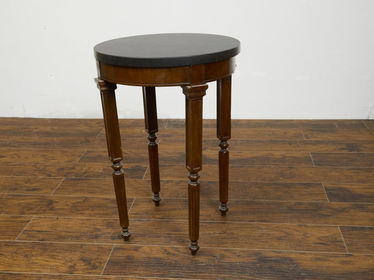 French 19th Century Wooden Guéridon Table with Circular Black Marble Top For Sale 6
