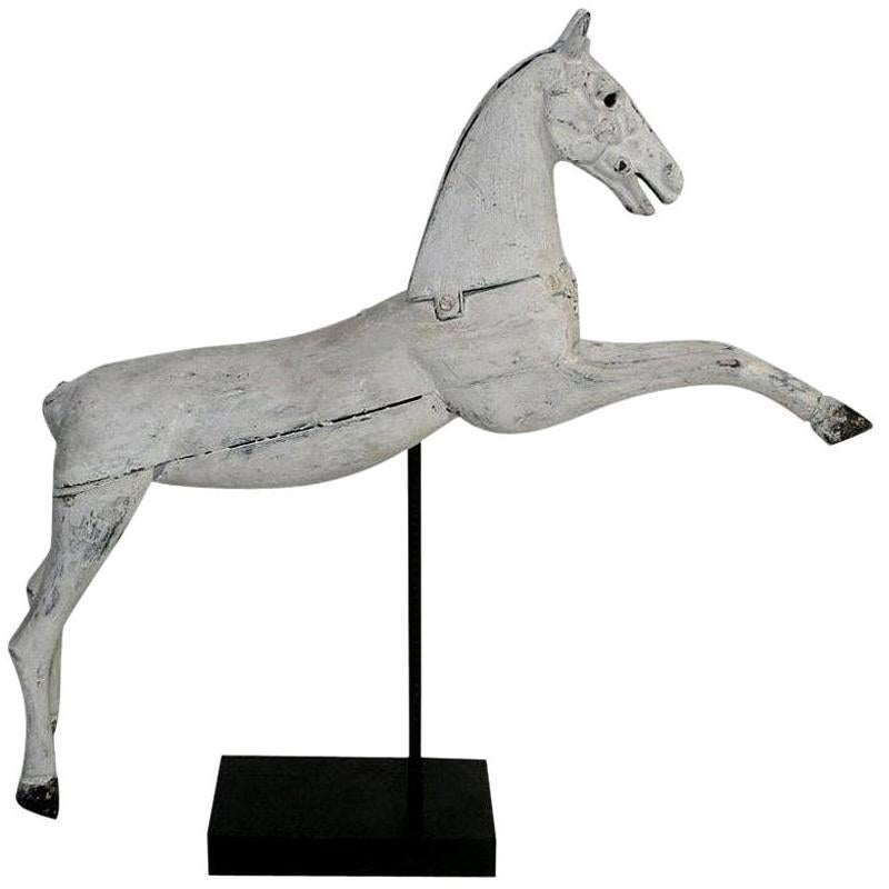 French 19th Century Wooden Horse with Cast Iron Head