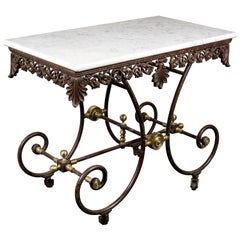 A French 19th Century Wrought Iron and Brass Butchers Table