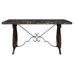 French 19th Century Wrought Iron and Grand Antique Marble Center or Dining Table