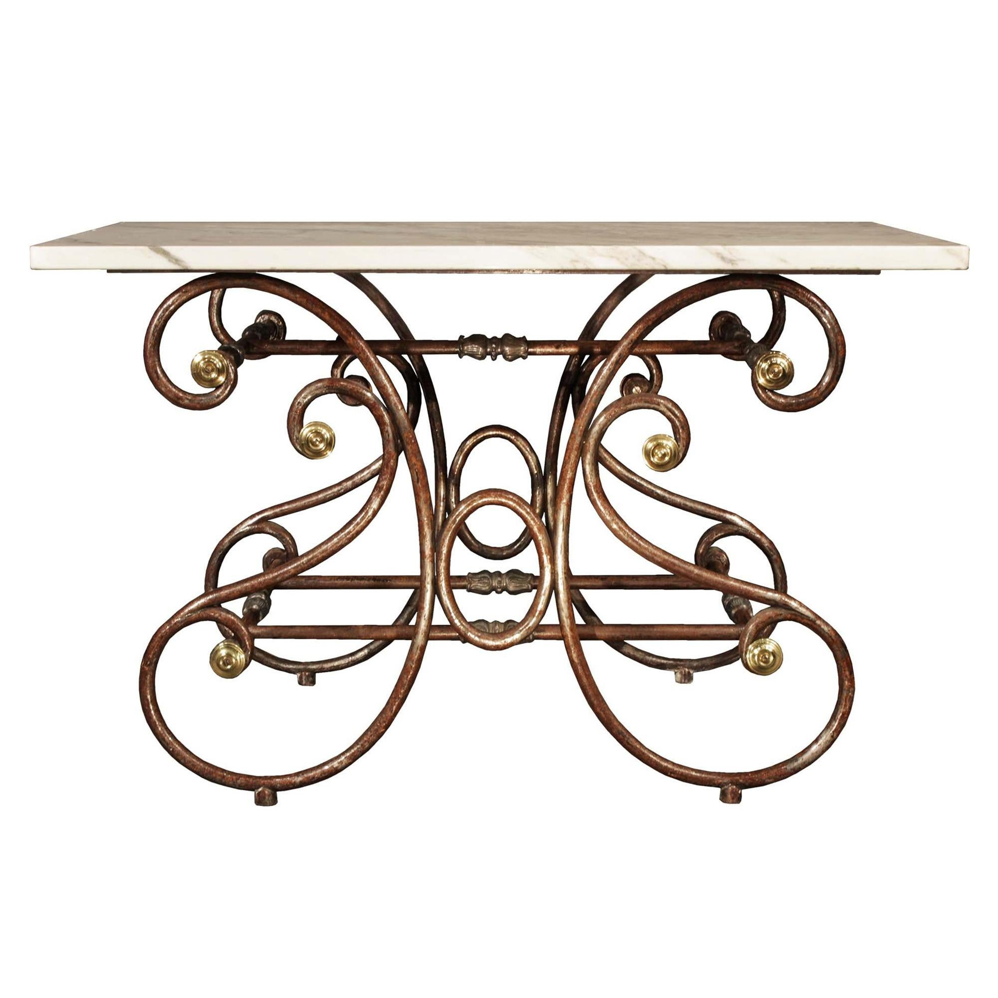French 19th Century Wrought Iron and Marble Table de Boucher