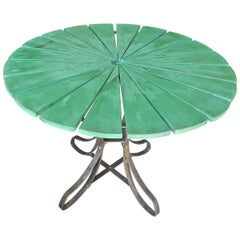 French 19th Century Wrought Iron and Painted Wood Round Garden Table.