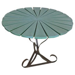French 19th Century Wrought Iron and Painted Wood Round Garden Table