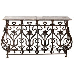 French 19th Century Wrought Iron Console with Rouge Marble Top