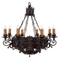French 19th Century Wrought Iron Eight-Arm Chandelier