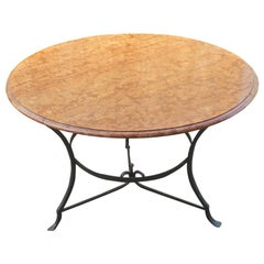 French 19th Century Wrought Iron Garden Table Frame with Round Rouge Marble Top