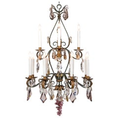 French 19th Century Wrought Iron, Gilt Metal and Baccarat Crystal Chandelier