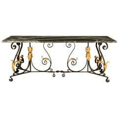French 19th Century Wrought Iron, Gilt Metal and Marble Center or Dining Table