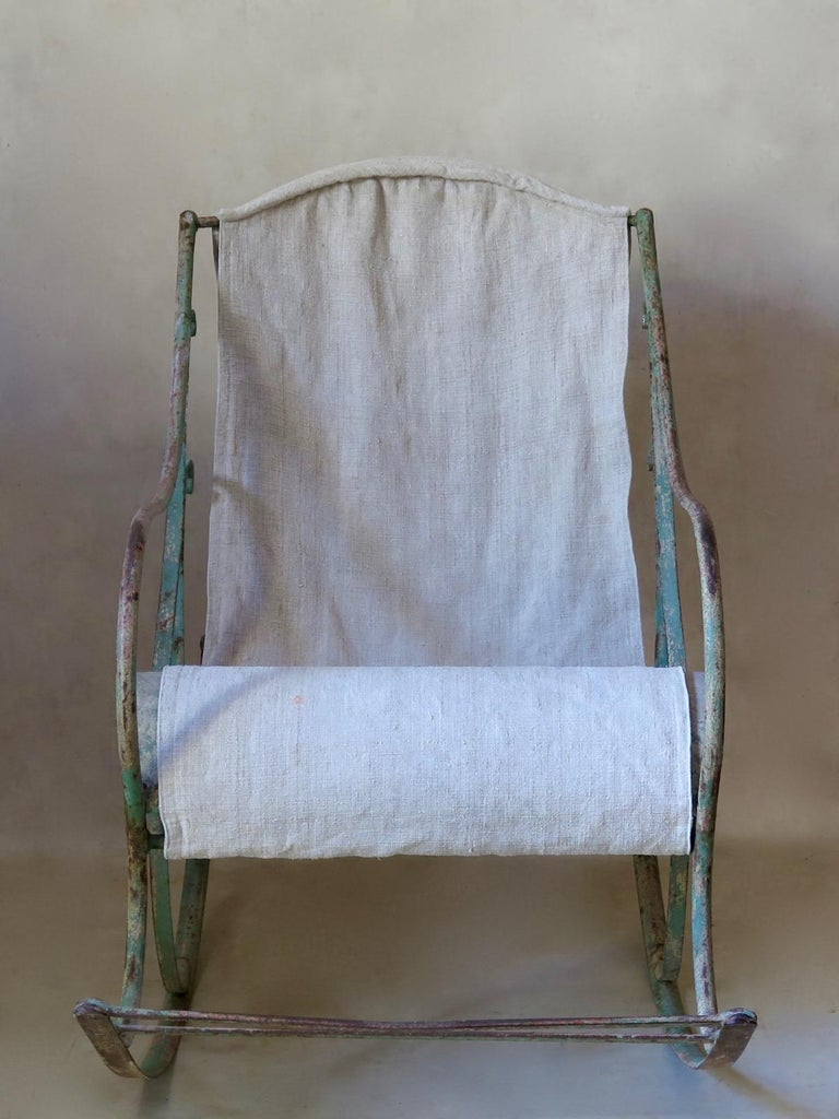 French 19th Century Wrought Iron Rocking Chair For Sale 5