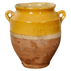 French 19th Century Yellow Glazed Confit Jar
