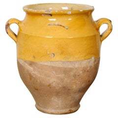 French 19th Century Yellow Glazed Confit Jar