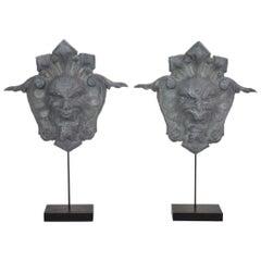 French, 19th Century, Zinc Head Mascarons Ornaments
