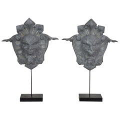 French, 19th Century, Zinc Head Mascarons Ornaments