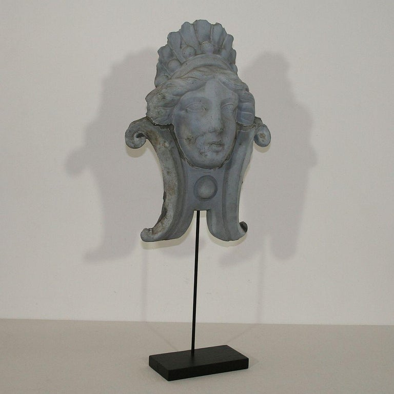 French, 19th Century, Zinc Head Ornament In Fair Condition In Amsterdam, NL