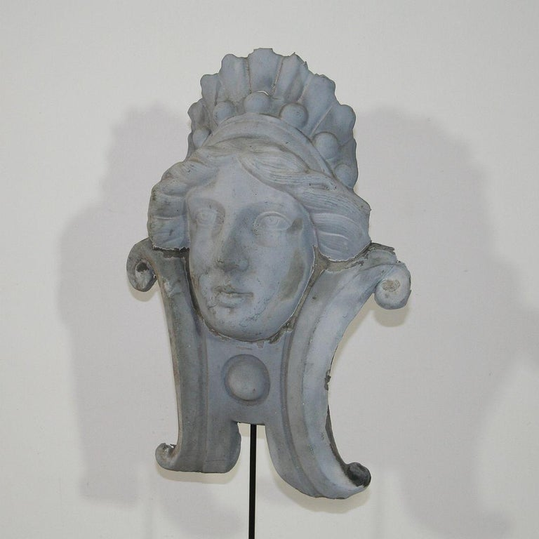 French, 19th Century, Zinc Head Ornament 3