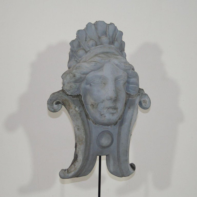 French, 19th Century, Zinc Head Ornament 4