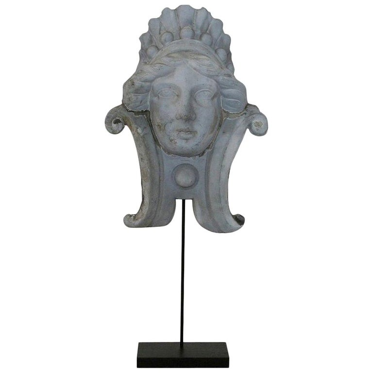 French, 19th Century, Zinc Head Ornament