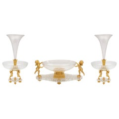 French 19th Century Louis XVI Style Complete Crystal and Ormolu Centerpiece Set