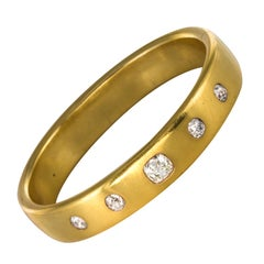 French 1st Half of 19th Century 3.45 Carat Diamond Gold Bangle Bracelet