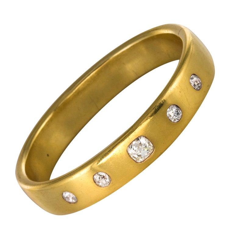 5c676791b French 1st Half of 19th Century 3.45 Carat Diamond Gold Bangle Bracelet For  Sale