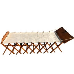 French First World War Officer's Collapsible Bed/Cot and Upholstered Bench, 1914