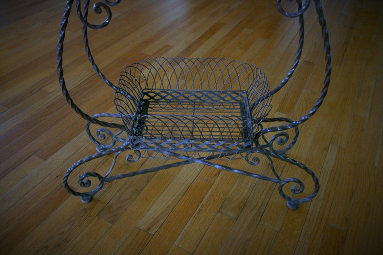 8-170 handmade wire and iron 2 level plant stand.