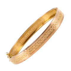 French 20th Century 18 Karat Rose Gold Chiseled Bangle Bracelet