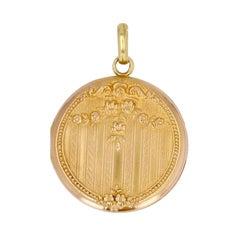 French 20th Century 18 Karat Rose Gold Medallion Pendant