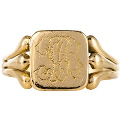 French 20th Century 18 Karat Yellow Gold Engraved Signet Ring