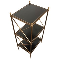French 20th Century Brass and Leather Neoclassical-Style Étagère