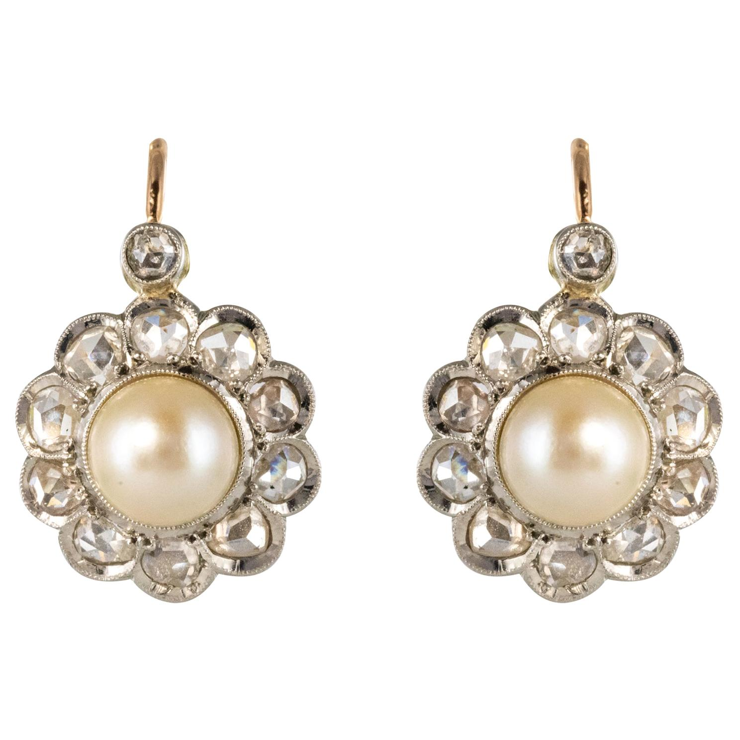French 20th Century Diamonds Pearls 18 Karat Yellow Gold Lever, Back Earrings